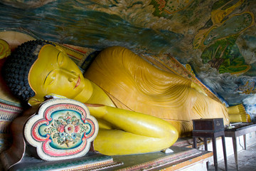 reclining buddha in Cave temple in Milkirigala near Tangalle, Sr