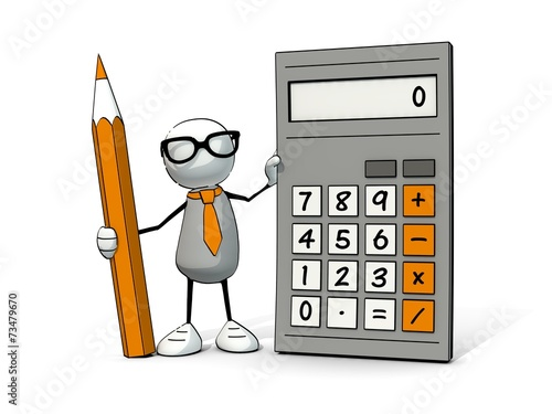 canvas print picture little sketchy man with glasses with calculator and pencil