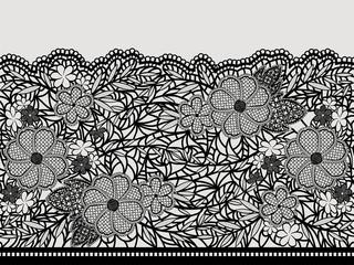 Lacy black seamless pattern of flower ribbon.