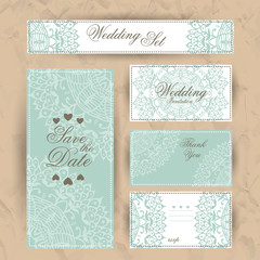 Wedding set of invitation, thank you card, save the date card