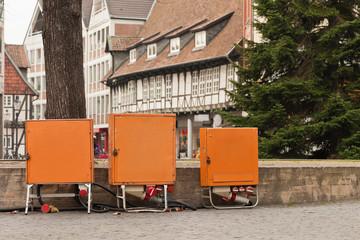 Baustrom Verteilerkasten Stromversorgung auf dem Weihnachtsmarkt