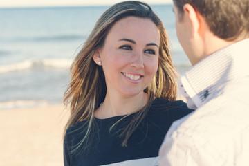 Closeup of woman looking her boyfriend