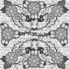 Monochrome lace seamless pattern of flowers and leaves.