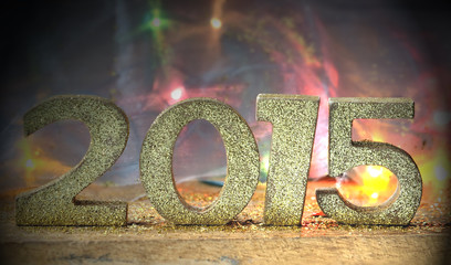 2015 sur fond coloré