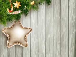Christmas decoration with fir branches. EPS 10
