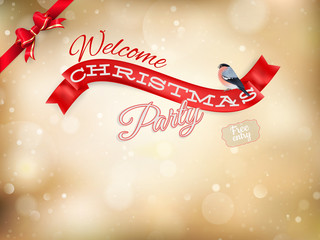 Christmas typography poster on gold bokeh. EPS 10