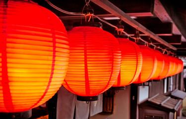 Japanese red lantern in Kyoto,  Japan.