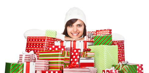 Beautiful girl with Christmas gifts