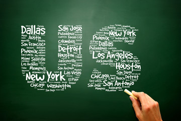 US letters with cities names words on blackboard, presentation