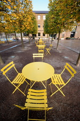 Row of yellow tables