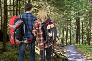 Backpacking couple in a forest