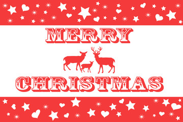 Red and White Merry Christmas Card with Reindeer