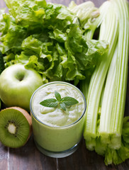 Green smoothie, vegetables and fruits