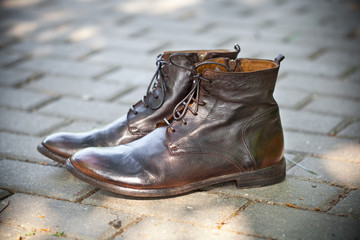 Leather shoes brown outdoors