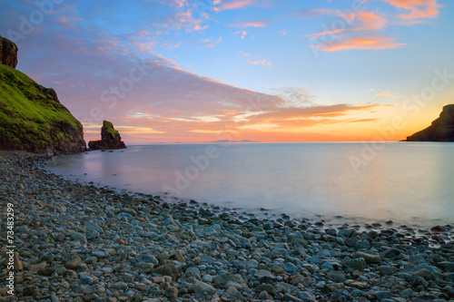 canvas print picture Tranquil bay in Scotland after sunset