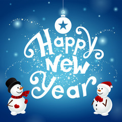 Happy new year with snowmans