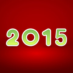 2015 New Year image on red background with white and green figur