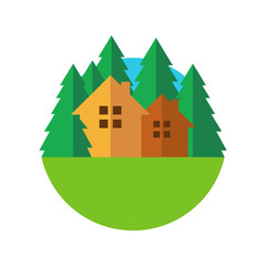 Flat style eco house badge with trees. Vector logo template. Des