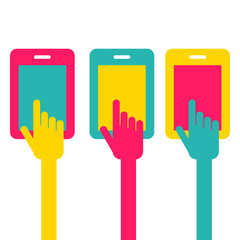 Colorful touch screen smartphone icon. Hand pointer symbol. Vect