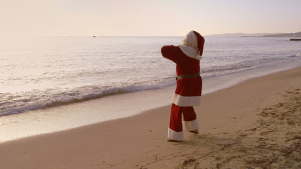 Santa Vacation - Happy Santa on the Beach