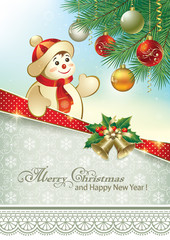 Christmas card with snowman under the Christmas tree