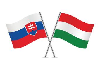Slovakia and Hungary flags. Vector illustration.