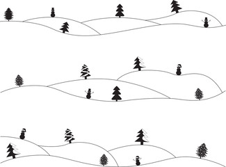 Simple Christmas landscapes illustrated on white
