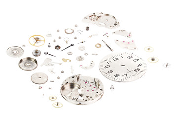 Isometric. Dismantled old mechanical wristwatch isolated on whit