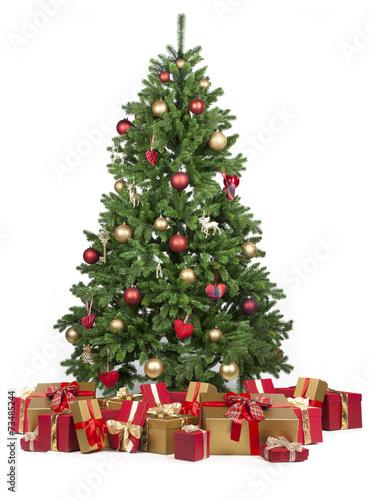 canvas print picture Weihnachtsbaum mit vielen Geschenken