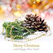 Obrazy na płótnie, fototapety, zdjęcia, fotoobrazy drukowane : Fir branches with cones and christmas decoration