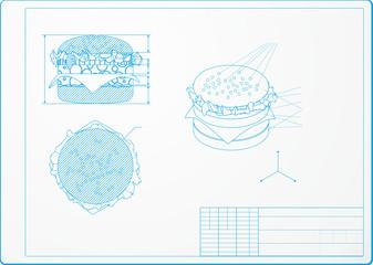Isometric drawing of a hamburger