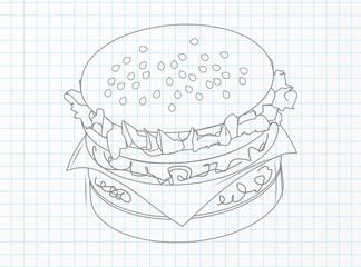 Hamburger on a notebook sheet