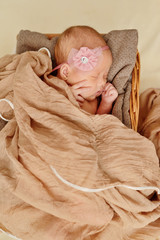 newborn girl is sleeping