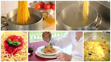 cooking and eating italian spaghetti montage