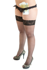 Seductive female legs wearing black underwear with euros