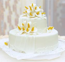 Wedding cake on light background