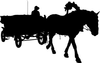 Vector silhouette of a horse put to a cart