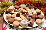 turron, polvorones and mantecados, typical christmas confections poster