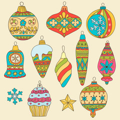 Set of hand drawn Christmas tree balls