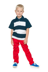 Handsome young boy in a red pants