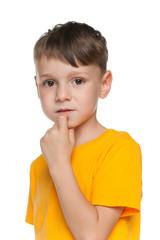 Portrait of a sad little boy