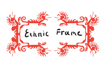 Red frame element with dragons, vector