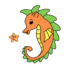 seahorse cartoon Vector illustration