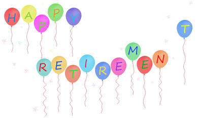Happy retirement party balloon banner, white background
