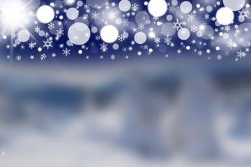 Blurred winter background witd dark sky