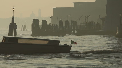 Motor boat at sea in sunset, Venice