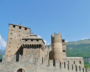 The medieval castle of Fenis in Italy