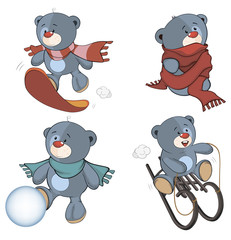 A set of stuffed bear toys cartoon