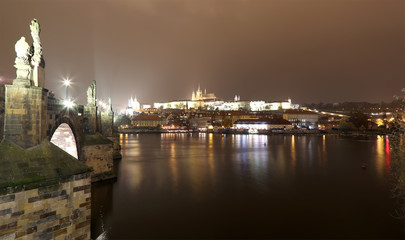 A night view of the river Vltava and Charles Bridge in Prague