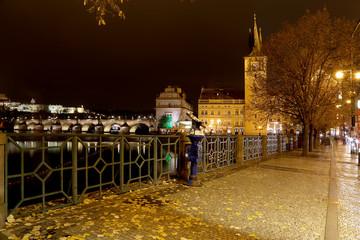 Embankment of the Vltava River near Charles Bridge. Prague